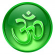 Om Symbol icon green, isolated on white background. — Stock Photo