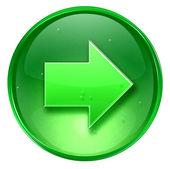 Pijl rechts pictogram groen, geïsoleerd op witte achtergrond. — Stockfoto