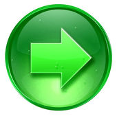Verde derecha icono de flecha, aislado sobre fondo blanco. — Foto de Stock