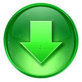 Flecha abajo verde icono, aislado sobre fondo blanco. — Foto de Stock