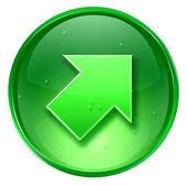 Pijl pictogram groen, geïsoleerd op witte achtergrond — Stockfoto
