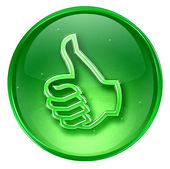 Thumb up icon green, approval Hand Gesture, isolated on white b — Stock Photo