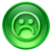 Smiley Face, dissatisfied green, isolated on white background. — Stock Photo