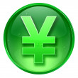 Yen icon green, isolated on white background — Stock Photo