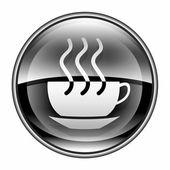 Kawy filiżanka ikona czarny, na białym tle. — Zdjęcie stockowe