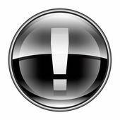 Exclamation symbol icon black, isolated on white background — Stock Photo