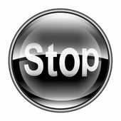 Stop icon black, isolated on white background — Stock Photo