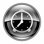 Alarm clock icon black, isolated on white background — Stock Photo