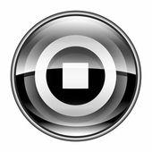 Stop icon black, isolated on white background. — Stock Photo