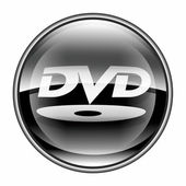 DVD icon black, isolated on white background. — Stock Photo