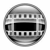 Film icon black, isolated on white background. — Stock Photo