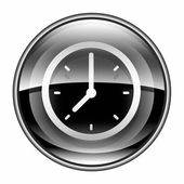 Clock icon black, isolated on white background. — Stock Photo