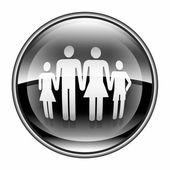 Noir de l'icône familiale, isolé sur fond blanc. — Photo