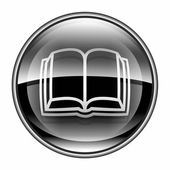 Book icon black, isolated on white background. — Stock Photo