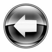 Flecha izquierda icono negro, aislado sobre fondo blanco. — Foto de Stock