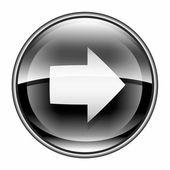 Pijl rechts pictogram zwart, geïsoleerd op witte achtergrond. — Stockfoto