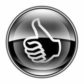 Thumb up icon black, approval Hand Gesture, isolated on white ba — Foto Stock