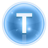 Ice font icon. Letter T, isolated on white background — ストック写真