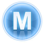 Ice font icon. Letter M, isolated on white background — Stock Photo