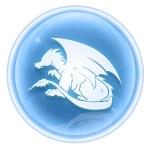 Dragon Zodiac icon ice, isolated on white background. — Stock Photo