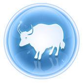 Ox Zodiac icon ice, isolated on white background. — Stock Photo