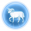 Aries zodiac icon ice, isolated on white background. - Foto de Stock