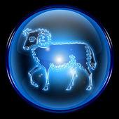 Aries zodiac button icon, isolated on black background. — Stock Photo