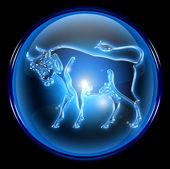 Taurus zodiac button icon, isolated on black background. — Stock Photo
