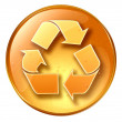 Recycling symbol icon yellow, isolated on white background. — Stockfoto
