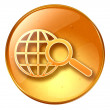 Magnifier and globe icon yellow, isolated on white background. - Stock Photo