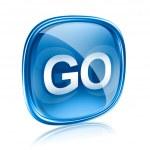 GO icon glass blue, isolated on white background — Stock Photo #9246804