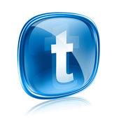Twitter ikonu sklo modré, izolovaných na bílém pozadí — Stock fotografie