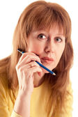 Woman with pencil — Stock Photo