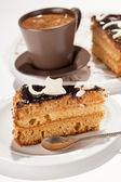 Chocolate cake with coffee — Stock Photo
