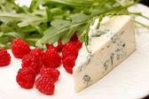 Cheese and raspberry — Stock Photo