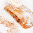 Apple strudel with vanilla ice cream - Stock Photo