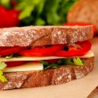 Sandwich with cheese and vegetables — Foto de Stock
