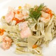Pasta with salmon and caviar — Foto Stock
