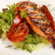Salmon steak with vegetables — Zdjęcie stockowe