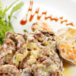 Stock Photo: Fricassee with seafood and salad