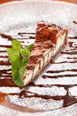 Cheesecake with Chocolate Sauce — Stock Photo