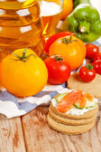 Fresh vegetables and oatmeal cookies — Foto de Stock