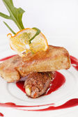 Foie gras with sauce — Stock Photo