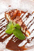 Cheesecake with Chocolate Sauce — Stock Photo
