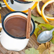 Hot chocolate in the white mugs — Stock Photo