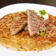Potato pancake with meat — Stock Photo
