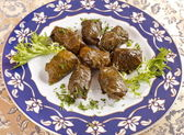 Vine leaves stuffed with rice (dolmades served on a plate) — Stock Photo