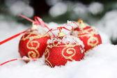 Czerwone kulki na śniegu — Zdjęcie stockowe