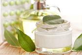 Botte of organic cream — Stock Photo