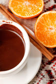 Hot chocolate with mandarin and cinnamon — Stock Photo
